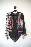 Abstract Print Save the Queen Cardigan, size L