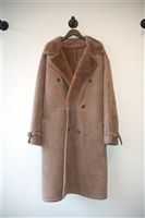 Cocoa Powder Saks Fifth Avenue Shearling Coat, size L