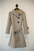 Beige Check Soia & Kyo Trench Coat, size S