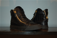 Black Leather Giuseppe Zanotti High-Top Sneakers, size 8