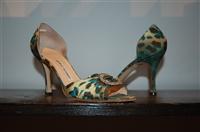 Animal Print Manolo Blahnik Open-Toe Heels, size 8