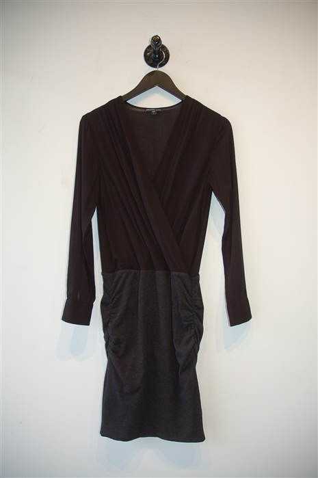 Black & Gray James Perse Faux-Wrap Dress, size S