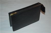 Black Leather Louis Vuitton Zippered Case, size S