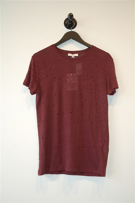 Burgundy Iro Short-Sleeved Top, size XS