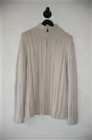 Palest Beige Hermes Zippered Sweater, size XL