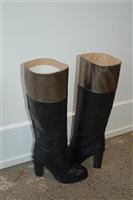 Black Leather Diane von Furstenberg Boots, size 8