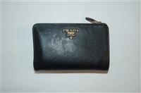 Black Leather Prada Wallet, size M