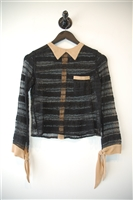 Black & Beige Opening Ceremony Button Shirt, size XS
