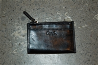 Black Leather Coach Coin Case, size O/S