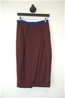 Dark Maroon Arthur Mendonca Midi Skirt, size 4