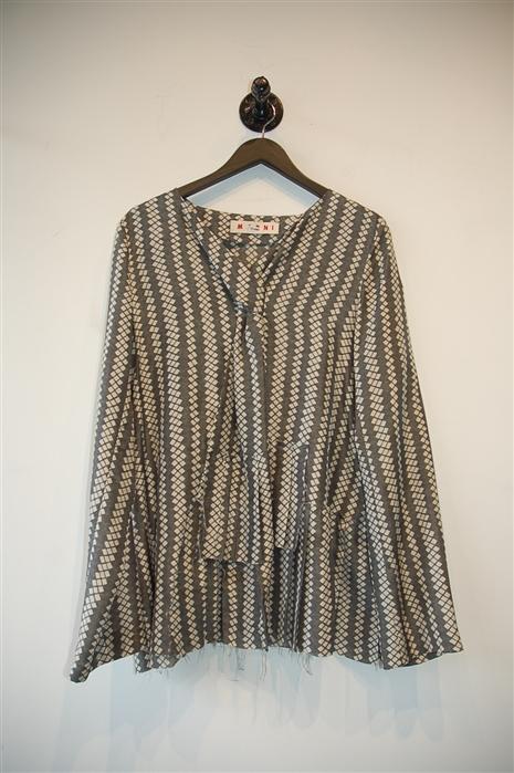 Gray Stripe Marni Blouse, size 10
