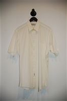 Cream Saks Fifth Avenue Short-Sleeved Shirt, size L