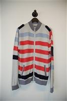 Striped Adolfo Dominguez Zippered Sweater, size M