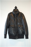 Black Leather Mackage Puffer Jacket, size M
