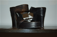 Black Leather Ann Demeulemeester Wedge, size 8