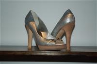 Silver Gucci Open-Toe Heels, size 10