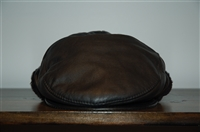 Black Leather No Label Flat Cap, size O/S