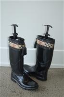 Black Rubber Burberry Rain Boots, size 9