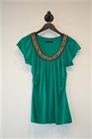 Kelly Green Velvet Short-Sleeved Top, size XS
