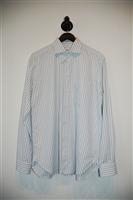 Blue Stripe Armani Collezioni Button Shirt, size L