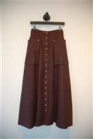 Rich Chocolate Hermes Maxi Skirt, size S