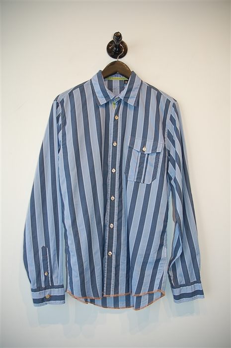 Blue Stripe Arnold Zimberg Button Shirt, size S