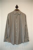 Gray Stripe Paul Smith - London Button Shirt, size M