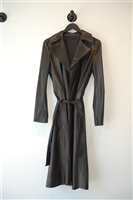 Black Leather Gucci Trench Coat, size S