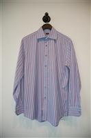 Blue Stripe Paul Smith - London Button Shirt, size L