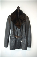 Black Leather Gucci Leather Jacket, size 2
