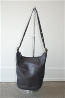 Black Leather Coach Bucket Bag, size L