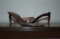 Dark Silver Sergio Rossi Sandal, size 7.5