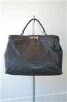 Black Leather Fendi Handbag, size L