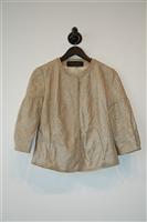 Beige Shimmer Elie Tahari Leather Jacket, size S