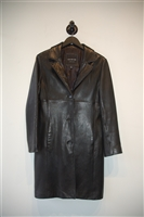 Black Leather Marc New York Leather Coat, size S