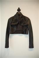 Black Leather BCBG Maxazria Cropped Jacket, size XS