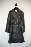 Black Leather Versace x H&M Leather Coat, size 2