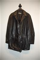 Black Leather Giorgio Armani Leather Coat, size XL