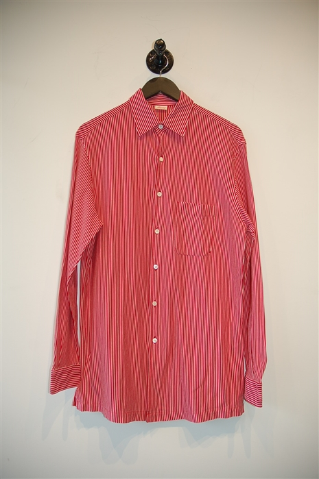 Red & White Brioni Button Shirt, size M