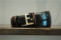 Black Leather Fendi Belt, size S