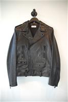 Black Leather Saint Laurent Leather Jacket, size L