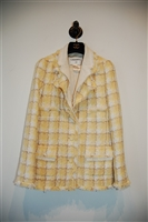 Yellow Check Chanel Suit Jacket, size 2