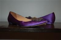 Royal Purple Manolo Blahnik Flats, size 8.5