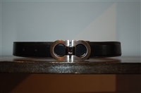 Black Leather Salvatore Ferragamo Belt, size XS