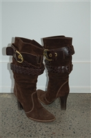 Dark Chocolate Coach Boots, size 5.5