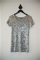 Silver Donna Karan Short-Sleeved Top, size S