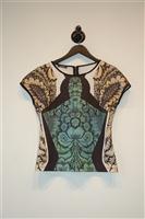 Floral La Pateau Short-Sleeved Top, size M