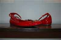 Red Patent Gucci Ballet Flats, size 9