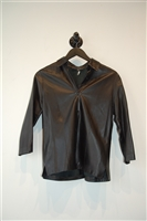 Black Leather Roots Shirt, size S