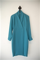 Deep Teal Max Mara Faux-Wrap Dress, size 2
